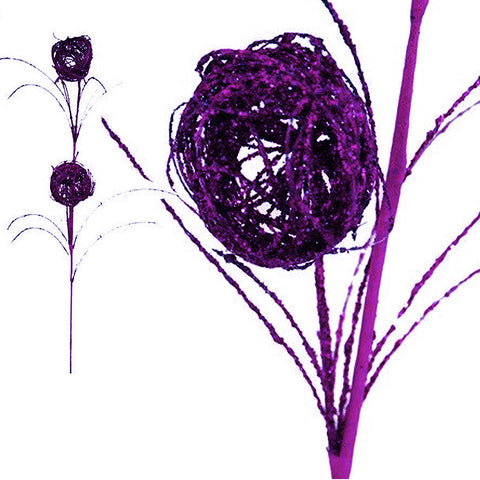 6 x Deuce of Glittered Bird's Nest on Stem - Purple( Sold Out )