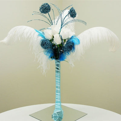 6 x Deuce of Glittered Bird's Nest on Stem - Turquoise