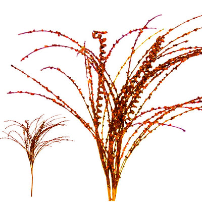 12 x Wavy Glittered Stems - Copper