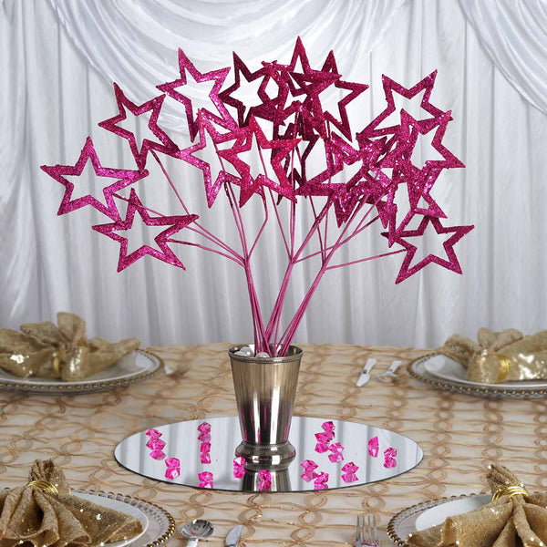 6 x Fairy Godmother's Glittered 6-star Wand - Pink