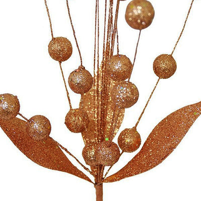 6 x Upright Sparkling Drops On Stems With Glittered Leaves - Copper