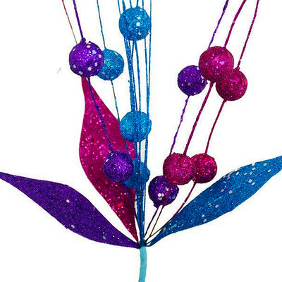 6 x Upright Sparkling Drops On Stems With Glittered Leaves - Turqoise/Fushia/Purple
