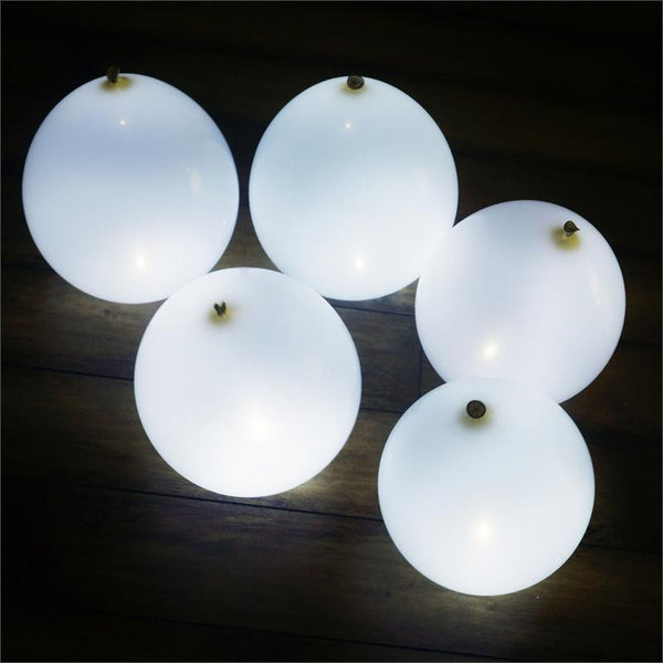 "12"" LED LIGHT UP THE NIGHT Latex Balloons 10/pk - White/White"