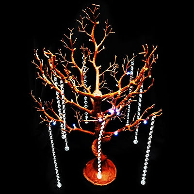 Battery Operated Glittered Natural Manzanita Tree Centerpiece For Wedding Party Event Table Top Decoration With LED Lights + 8pcs Acrylic Chains