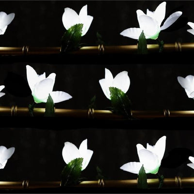 6FT 40 LED White Pre Lit Battery Operated Flower Garland Fairy String Lights - 4 PCS