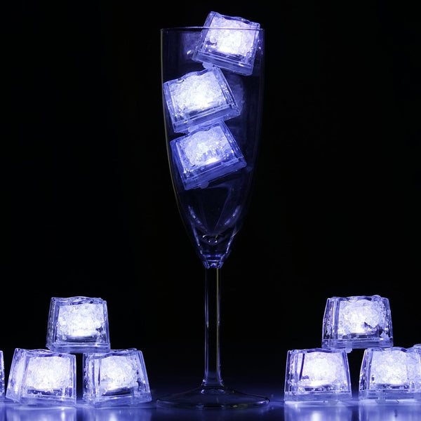 Automatic Submersible Waterproof  LED Ice Cubes RGB for Vase Wedding Party Fish Tank -White-12pcs