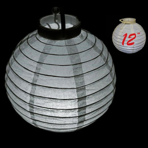 "12"" Heavenly Paper Lantern with LED - White 4/pk"