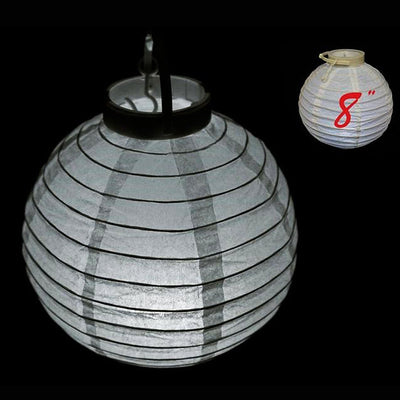 "8"" Heavenly Paper Lantern with LED - White 4/pk"