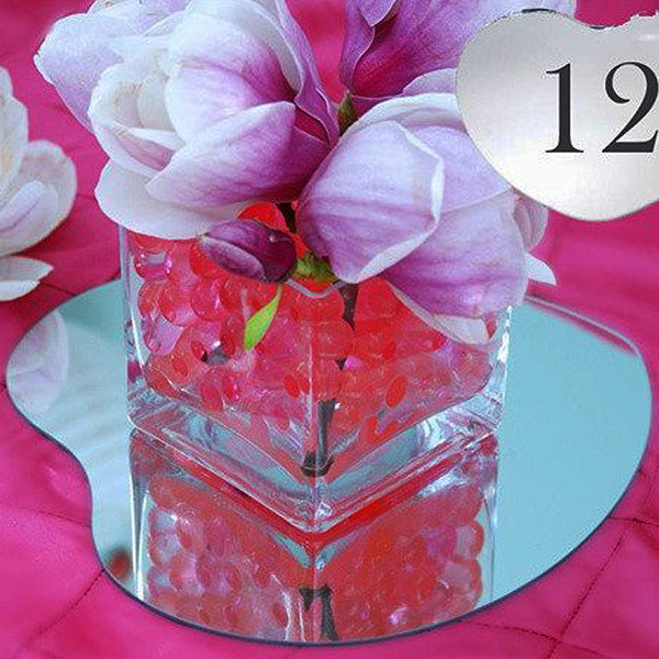 "12"" Heart Glass Mirror Wedding Party Table Decorations Centerpieces - 4 PCS"
