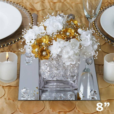 "8"" Square Glass Mirror Wedding Party Table Decorations Centerpieces - 6 PCS"