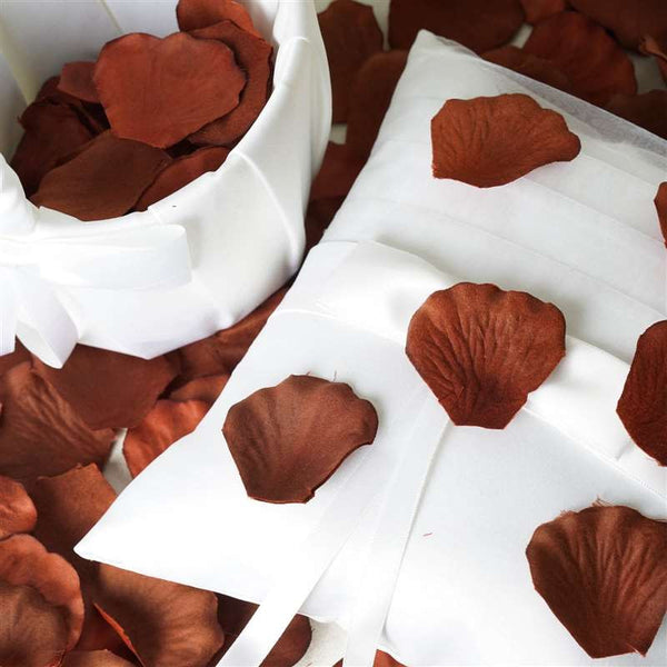 500 Silk Rose Petals For Wedding Party Table Confetti Decoration - Chocolate