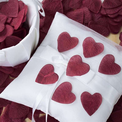 500 PCS Burgundy Silk Heart Rose Petals Wedding Flower Decoration Vase Home Bridal Décor