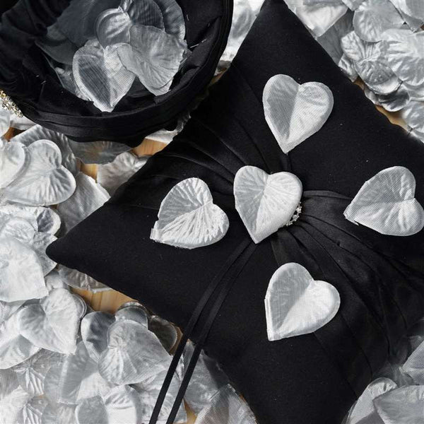 500 PCS Silver Silk Heart Rose Petals Wedding Flower Decoration Vase Home Bridal Décor