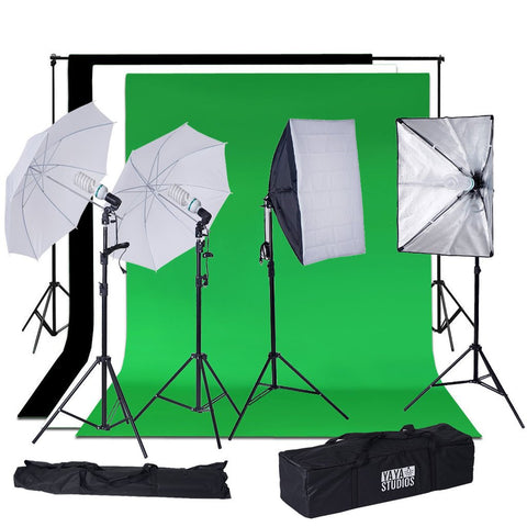 1200 Watts White Umbrella Soft box Continuous Lighting Photo Video Studio Kit With Chromakey Background Muslins (Green Black White)
