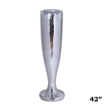 "42"" Silver Mirror Mosaic Polystone Trumpet Floor Vase Wedding Aisle Prop Party Columns"