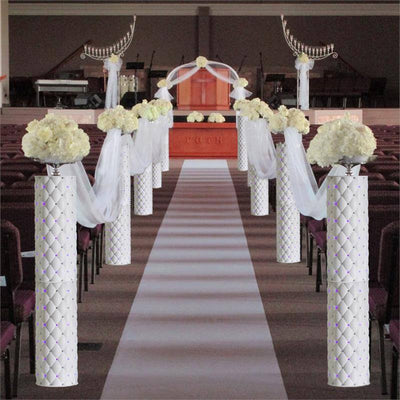 "4 Pcs Decorative Height Adjustable Wedding Roman Columns Plant Stand with LED lights - 30"" Tall"