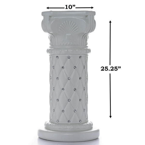 "4 PCS 10mm Crystal Studded White Wedding French Columns Plant Stand With Mirror Mosaic  - 25.25""x 10"""