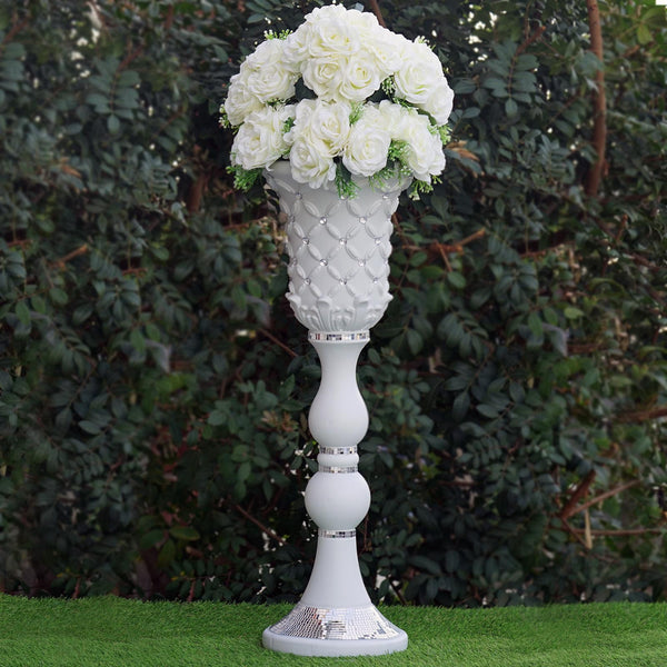 "10mm Crystal Bead Studded White Wedding French Columns With Mirror Mosaic Party Event Decoration - 31.5""x10.5"" - 4PCS"