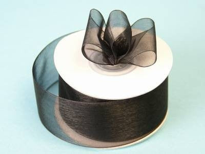 "25 Yard 1.5"" DIY Black Organza Ribbon With Mono Satin Edge For Craft Dress Wedding"