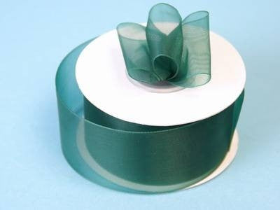 "25 Yard 1.5"" DIY Hunter Green Organza Ribbon With Mono Satin Edge For Craft Dress Wedding"