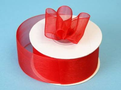 "25 Yard 1.5"" DIY Red Organza Ribbon With Mono Satin Edge For Craft Dress Wedding"