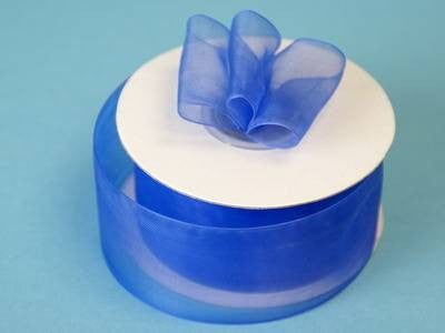 "25 Yard 1.5"" DIY Royal Blue Organza Ribbon With Mono Satin Edge For Craft Dress Wedding"