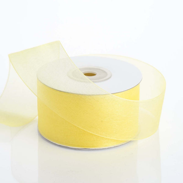 "1.5"" x 25 Yards Sheer Organza Ribbon - Yellow"