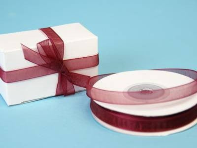 "3/8"" Organza Ribbon-Burgundy"