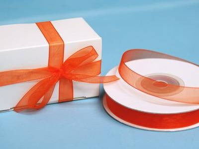 "3/8"" Organza Ribbon-Coral Orange"