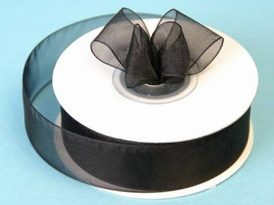 "7/8"" Organza Ribbon-Black"