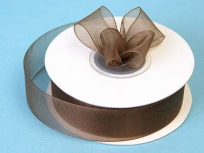 "7/8"" Organza Ribbon-Chocolate"