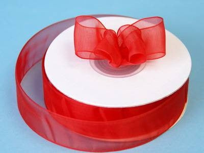 "7/8"" Organza Ribbon-Red"
