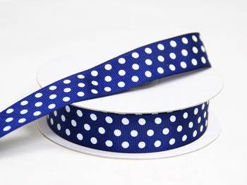 "7/8"" Polka Dot Ribbon-Navy"