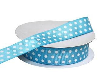 "7/8"" Polka Dot Ribbon-Turquoise - White Dots"