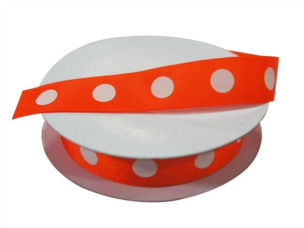 "7/8"" Polka Dot Ribbon-Orange - White Dots"