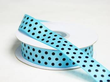 "7/8"" Polka Dot Ribbon-Turquoise - Black Dots"
