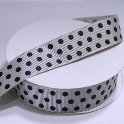 "7/8"" Polka Dot Ribbon-Silver"