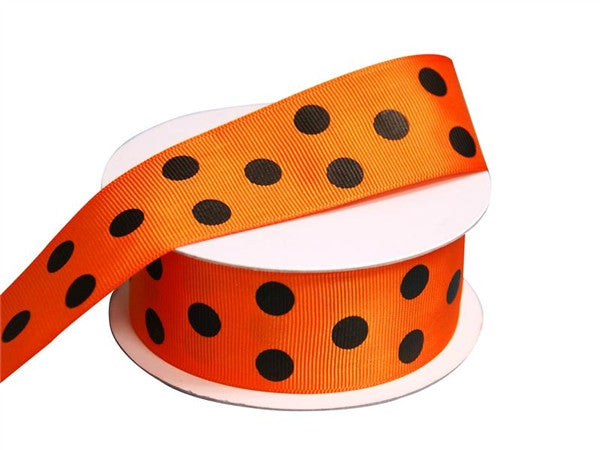 "25 Yards 1.5"" DIY Orange Grosgrain Black Polka Dot Ribbon Wedding Party Dress Favor Gift Craft"