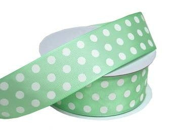 "25 Yards 1.5"" DIY Sage Grosgrain Polka Dot Ribbon Wedding Party Dress Favor Gift Craft"