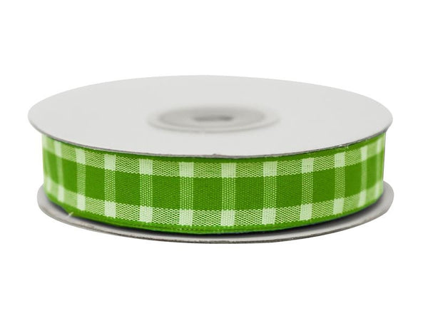 "Divergent Gingham Ribbon 5/8"" x 25yrds per roll-Apple Green"