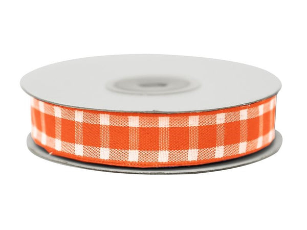 "Divergent Gingham Ribbon 5/8"" x 25yrds per roll-Orange"