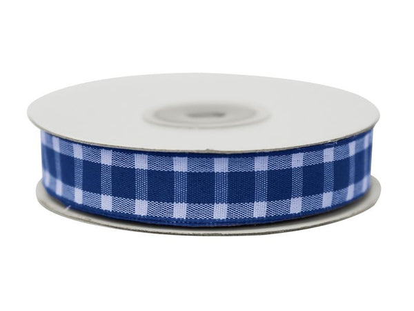 "Divergent Gingham Ribbon 5/8"" x 25yrds per roll-Royal Blue"