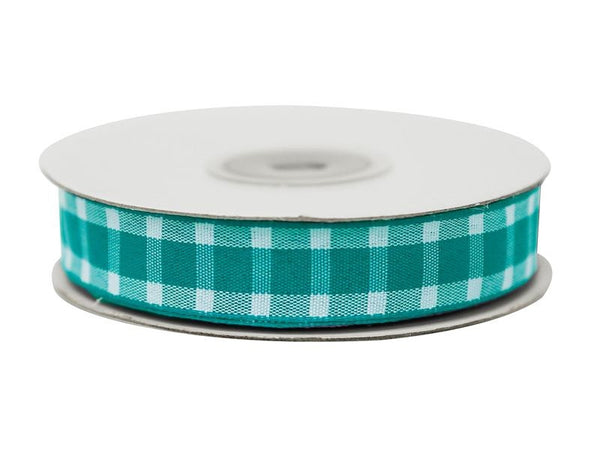 "Divergent Gingham Ribbon 5/8"" x 25yrds per roll-Turquoise"