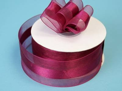 "10 Yards 1.5"" DIY Burgundy Satin Center Ribbon For Craft Dress Wedding"