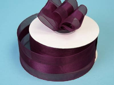 "10 Yards 1.5"" DIY Eggplant Satin Center Ribbon For Craft Dress Wedding"