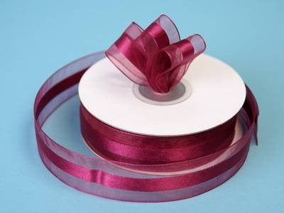 "7/8"" Organza Satin Center-Burgundy"