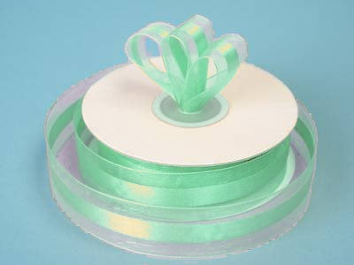 "7/8"" Organza Satin Center-Mint"