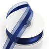 "7/8"" x 25 Yards Organza Ribbon With Satin Center - Navy Blue"