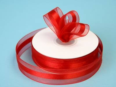 "7/8"" Organza Satin Center-Red"