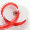"7/8"" x 25 Yards Organza Ribbon With Satin Center - Red"